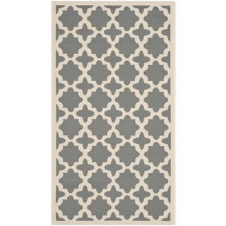 Safavieh Indoor/ Outdoor Courtyard Anthracite/ Beige Geometric Rug (2' x 3'7)