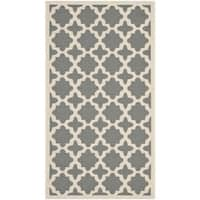 Safavieh Courtyard All-Weather Anthracite/ Beige Indoor/ Outdoor Rug - 2'7 x 5'