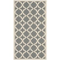 "Safavieh Courtyard All-Weather Anthracite/ Beige Indoor/ Outdoor Rug - 2'7"" x 5'"
