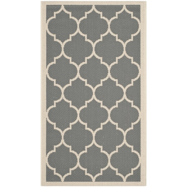 Safavieh Courtyard Moroccan Pattern Anthracite/ Beige Indoor/ Outdoor Rug - 2' x 3'7