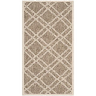 Safavieh Indoor/ Outdoor Courtyard Crisscross-pattern Brown/ Bone Rug (2' x 3'7''