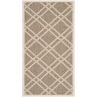 Safavieh Indoor/ Outdoor Courtyard Brown/ Bone Geometric-pattern Rug - 2'7 x 5'