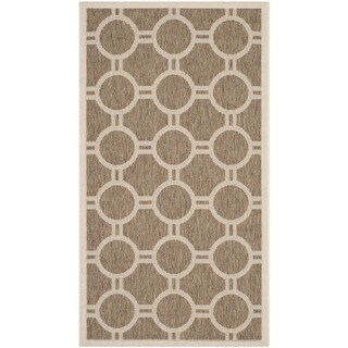 "Safavieh Indoor/ Outdoor Courtyard Circles-pattern Brown/ Bone Rug (2' x 3'7"""