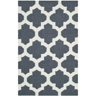 Safavieh Hand-woven Moroccan Reversible Dhurrie Blue Wool Rug (2'6 x 4')