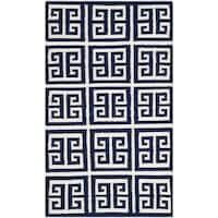 Safavieh Hand-woven Moroccan Reversible Dhurrie Navy Wool Rug - 2'6 x 4'