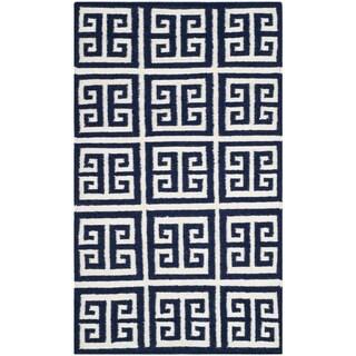 Safavieh Hand-woven Moroccan Reversible Dhurrie Navy Wool Rug (3' x 5')