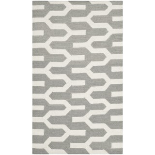 Safavieh Hand-woven Moroccan Reversible Dhurrie Silver Wool Rug (2'6 x 4')