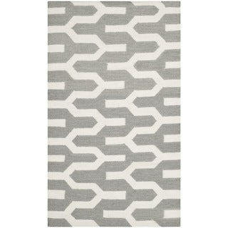 Safavieh Hand-woven Moroccan Reversible Dhurrie Silver Wool Rug (3' x 5')
