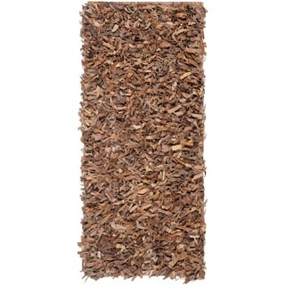Safavieh Hand-woven Leather Shag Brown Leather Rug (2'3 x 11')