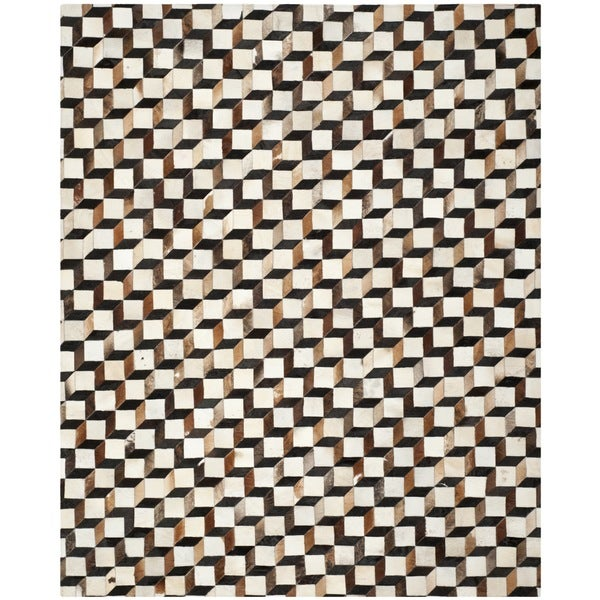 Safavieh Hand-woven Studio Leather Modern Abstract Brown/ Ivory Rug (8' x 10')