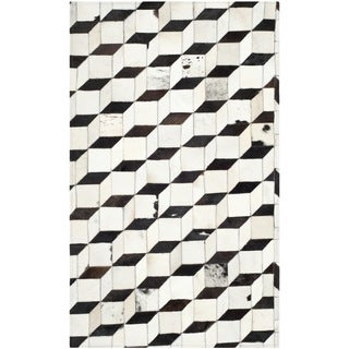 Safavieh Hand-woven Studio Leather Modern Abstract Black/ Grey Rug (3' x 5')