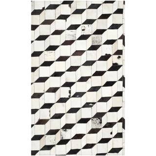 Safavieh Hand-woven Studio Leather Modern Abstract Black/ Grey Rug (4' x 6')