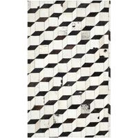 Safavieh Hand-woven Studio Leather Modern Abstract Black/ Grey Rug - 4' x 6'