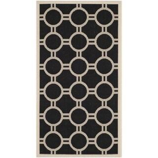 Safavieh Indoor/ Outdoor Courtyard Black/ Beige Rug - 2'7' x 5'