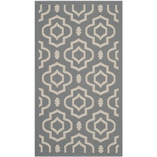 Safavieh Indoor/ Outdoor Courtyard Anthracite/ Beige Rug with .25-inch Pile (2' x 3'7)