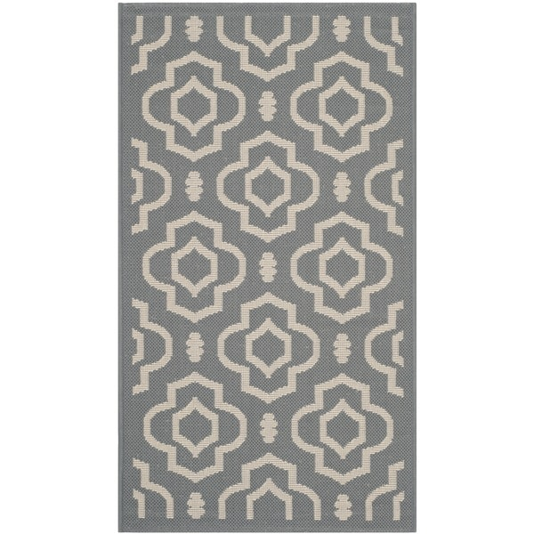 Safavieh Indoor/ Outdoor Courtyard Anthracite/ Beige Rug with .25-inch Pile - 2' x 3'7