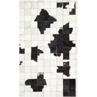 Safavieh Hand-woven Studio Leather Modern Abstract Ivory/ Black Rug - 3' x 5'