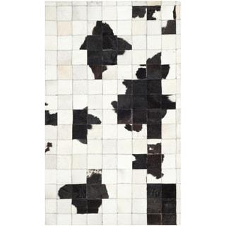 Safavieh Hand-woven Studio Leather Modern Abstract Ivory/ Black Rug (4' x 6')