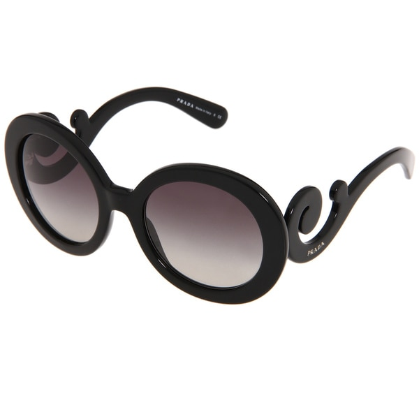 ff352704856 Shop Prada Women s PR 27NS Black Minimal-baroque Round Sunglasses ...
