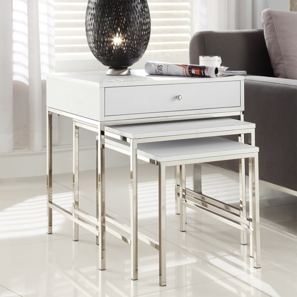 INSPIRE Q Gratten White Nesting Table Metal Accent Table