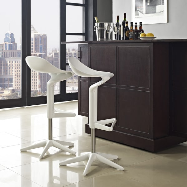 'Flare' White Scoop-seat Adjustable Barstool