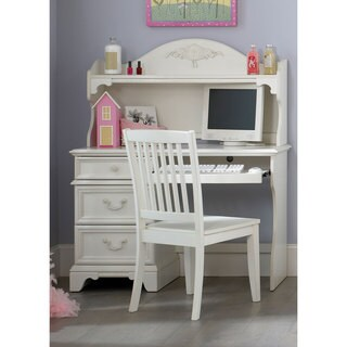 Arielle Antique White Student Desk and Hutch