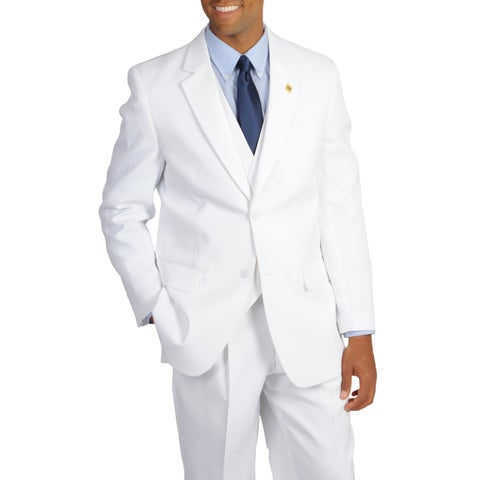 Stacy Adams Men's Solid White Classic Fit 3-piece Suit