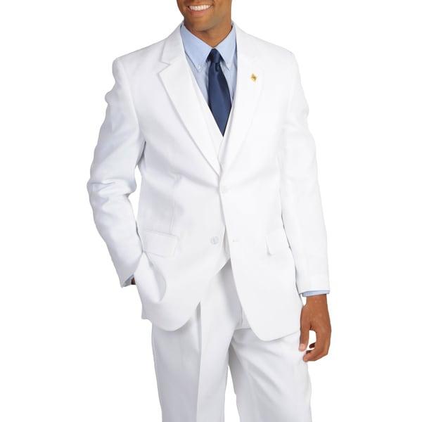 Stacy adams men s solid white 3 piece suit 15486957 overstock com