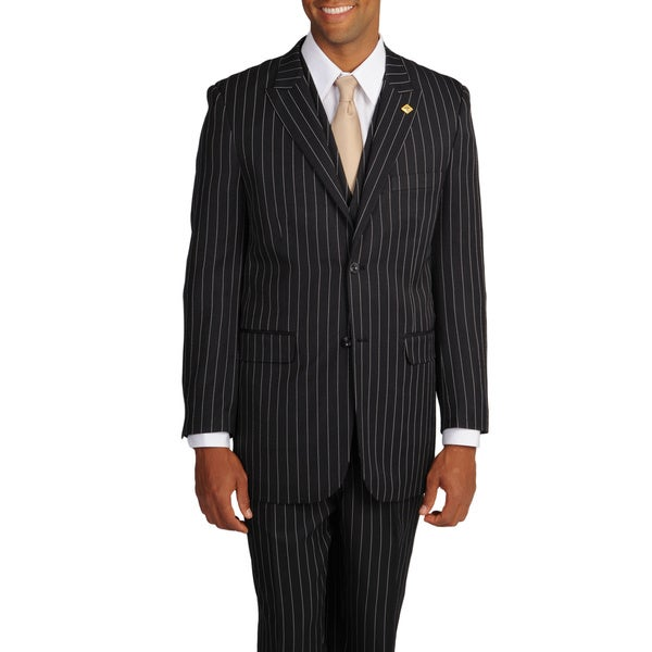 Stacy Adams Men's Black/White Stripe 3-piece Suit - Free Shipping ...