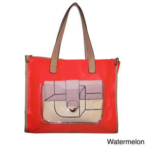 Handmade Donna Bella Maisie Colorblocked Tote and Removable Clutch