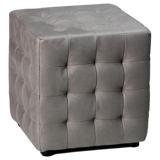 Cortesi Home Izzo Grey Stone Fabric Ottoman
