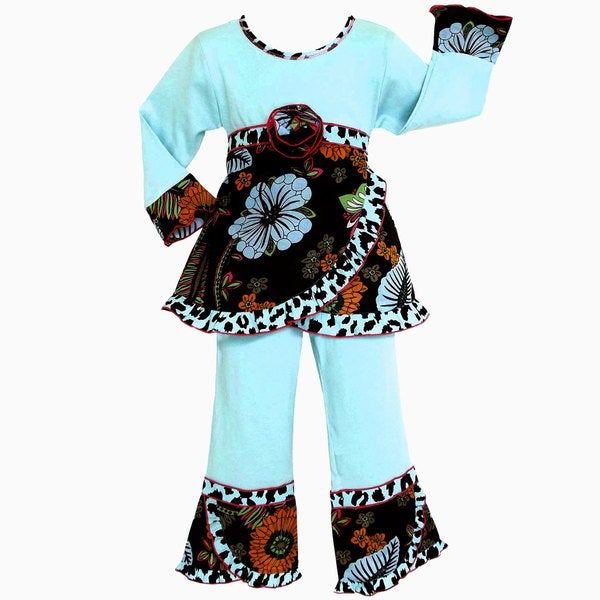 AnnLoren Boutique Girls Turquoise Lush Floral 2-piece Outfit
