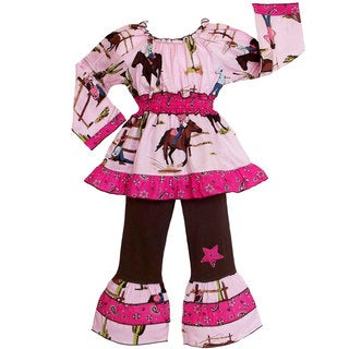 AnnLoren Girls Western Cowgirls and Horses 2-piece Outfit