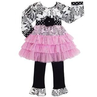 AnnLoren Girls Damask/ Dots Tunic Dress and Pants Set