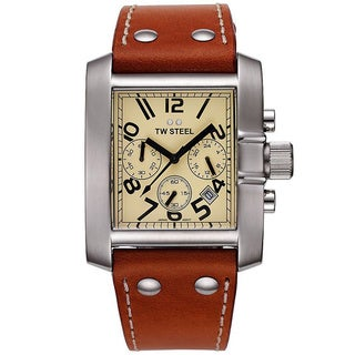 TW Steel Men's Brown Leather Cream Chronograph Dial Watch