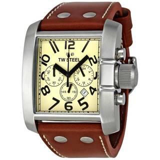 TW Steel Women's 'Goliath' Leather Strap Chronograph Watch