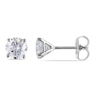 Miadora Signature Collection 14k White Gold 1 1/2ct TDW Certified Diamond Solitaire Earrings (F, VS2-SI1)