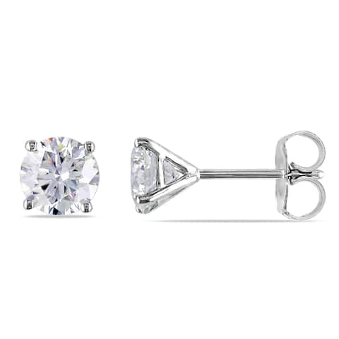 Miadora Signature Collection 14k White Gold 1 1/2ct TDW Certified Diamond Solitaire Earrings