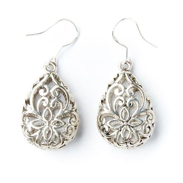Handmade Silver-Tone Lattice Teardrop Earrings (China)