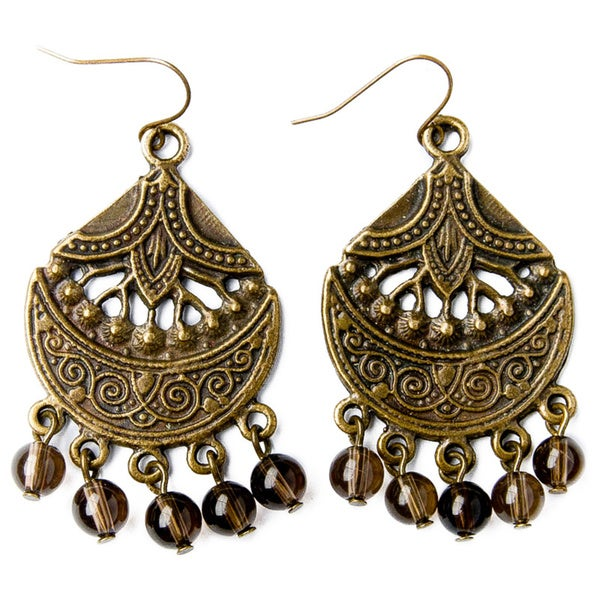 Bohemian Antique Gold and Crystal Bead Chandelier Earrings (China)