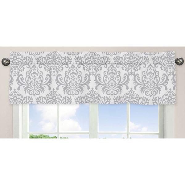 gray window valance diy box pleat sweet jojo designs gray and white 54inch 15inch window treatment curtain shop