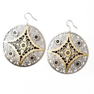 Two-Tone Metal Circular Earrings with Black Accents (China)