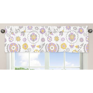 Sweet Jojo Designs Lavender, White, Gray and Yellow 54-inch x 15-inch Window Treatment Curtain Valance for S
