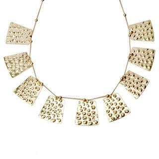 Goldtone Dimpled Hammered Dangle Statement Necklace