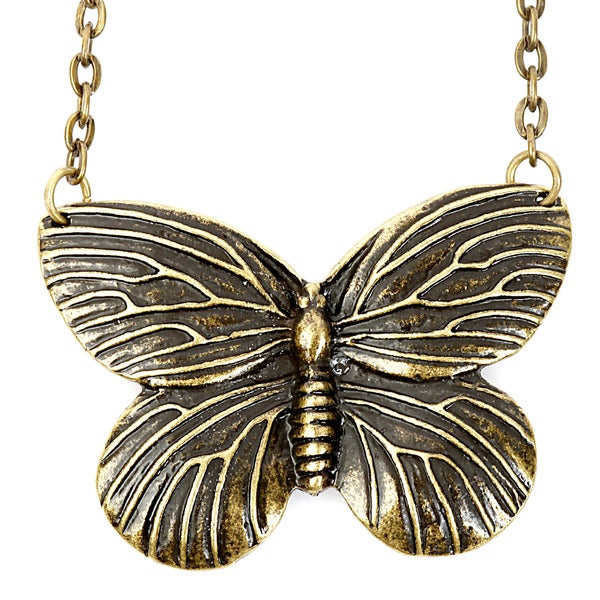 Goldtone Detailed Butterfly Necklace