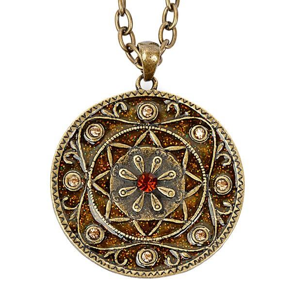 Goldtone Crystal and Glitter Medallion Necklace