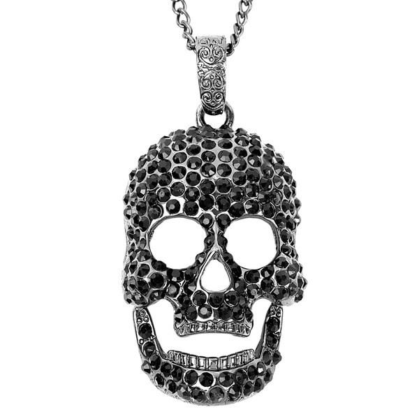 Silvertone Black Crystal-studded Grinning Skull Necklace