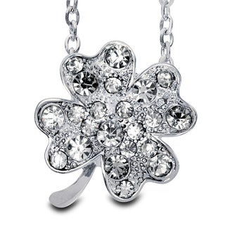 Silvertone Clear Crystal Four-leaf Clover Necklace
