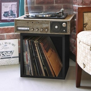 Eco Stackable Large Vinyl Record Album Storage Cube and Cubby Organizer (made from sustainable non-toxic zBoard paperboard)