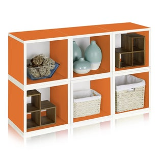 Way Basics Evan Paperboard Eco Stackable 6 Modular Cube Storage with Lifetime Guarantee (Option: ORANGE)